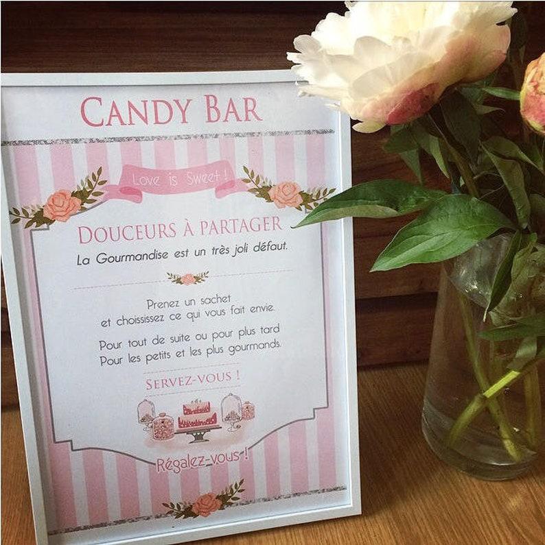 Display Candy Bar Sign Wedding Decoration Candy Bar Wedding Etsy