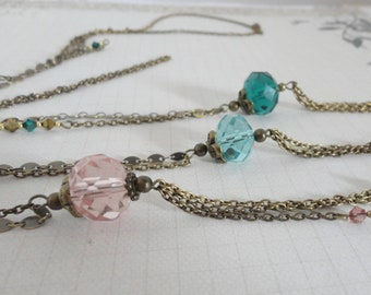 Pink long Necklace: large Crystal bead
