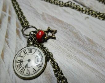 Vintage necklace long chain bronze