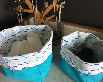 Fabric baskets - Storage basket for bedroom and bathroom with various printed cotton