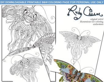 BUTTERFLIES download print Adult Coloring page, Ruby Charm Illustrations for Coloring Enthusiasts, butterfly moth nature floral