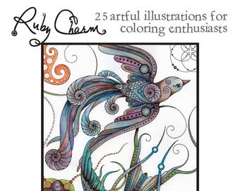 Downloadable Printable PDF COLORING BOOK: Ruby Charm 25 artful Illustrations for Coloring Enthusiasts, Adult colouring pages