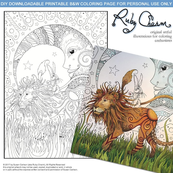 Coloring Page Lion Hare And Moon Downloadable Printable Pdf By Ruby Charm Colors