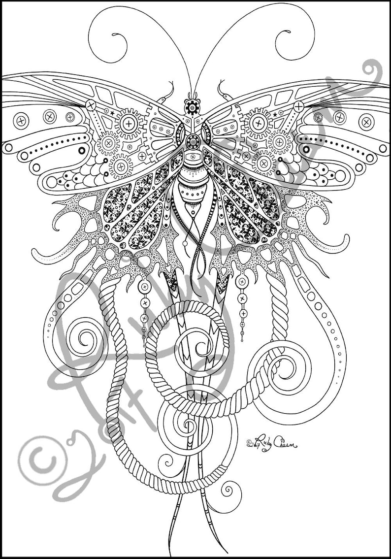 BUTTERFLY downloadable printable Adult Coloring page Ruby ...