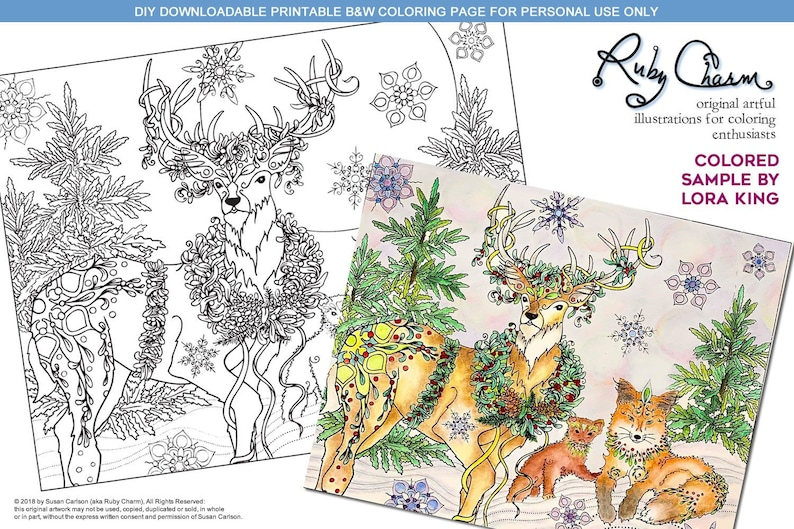 Christmas Holiday Deer Mink Fox Downloadable Pdf Print And Etsy