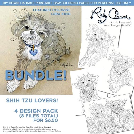 Shih Tzu Dog PDF BUNDLE Download Print And Color A