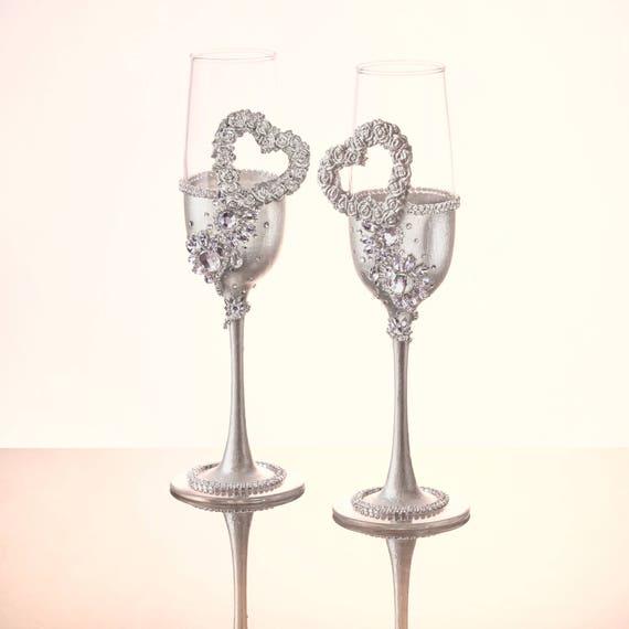 Silver Wedding Flutes Wedding Glasses Silver Hearts Wedding Etsy