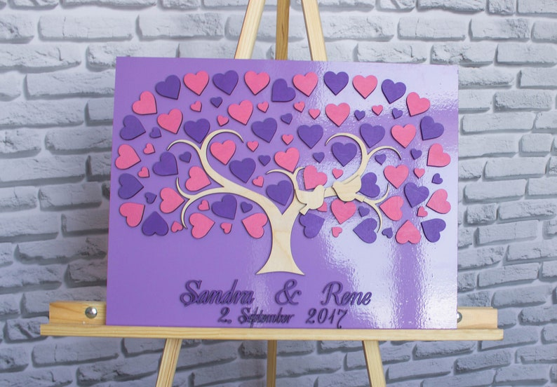 3D Wedding guest book alternative Wedding sign book Purple wedding guest book Wedding guest book tree personalized guest book custom color