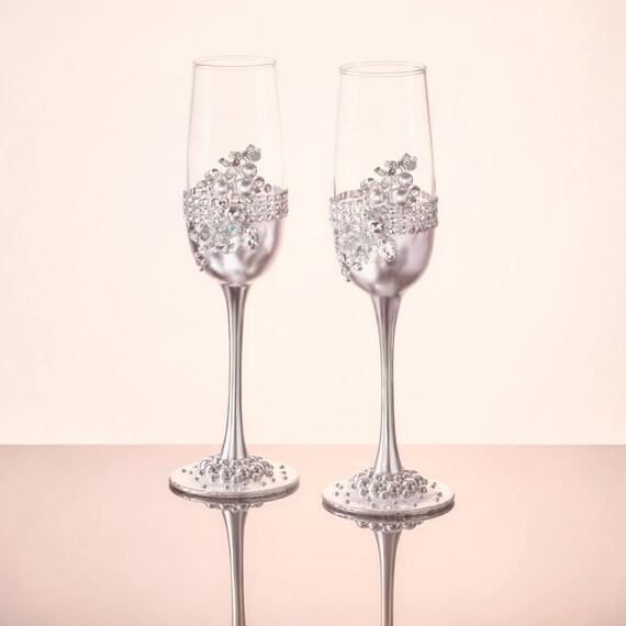 Silver Wedding Glasses Wedding Flutes Rhinestones Toasting Etsy