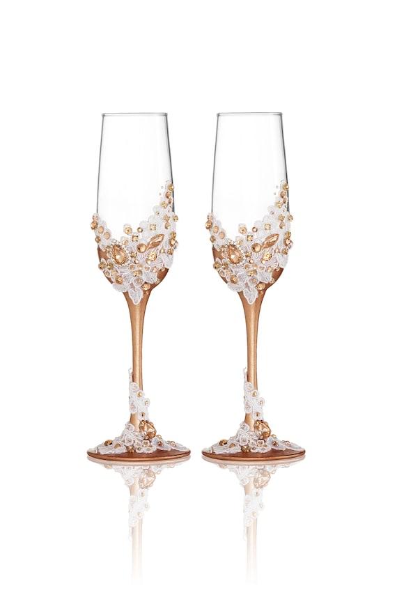 Rose Gold Wedding Glasses White Lace Wedding Flutes Champagne Etsy