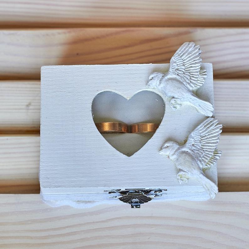 Wedding ring box Rustic wedding bearer box White wedding ring box Love beards Ring bearer box Engagement white ring box Wooden ring box