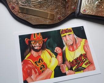 Hulk Hogan and Macho Man Watercolour Giclee Print A4
