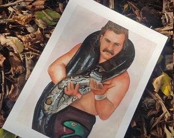 Jake the Snake Watercolour Giclee Print A4