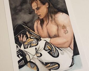 Shawn Michaels Watercolour Giclee Print A4