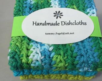 Crocheted Dishcloths, set of three, 100% Cotton