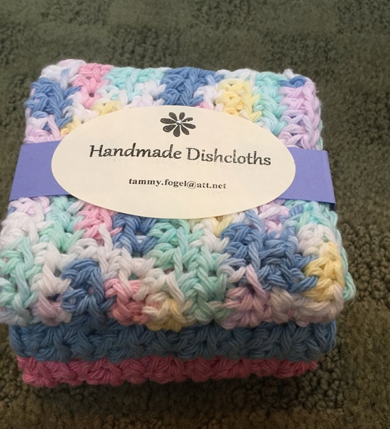 Crochet Cotton Dishcloths 3 pieces Set Baumwolle Sp\u00fclt\u00fccher Geh\u00e4kelt 3er Set