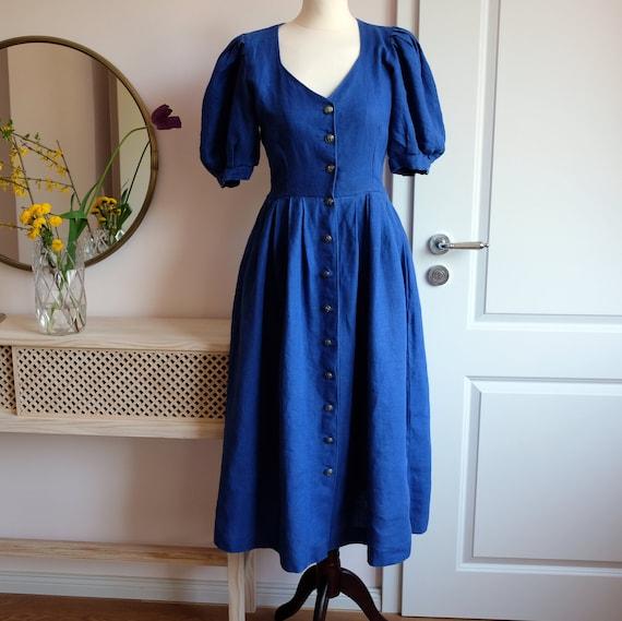 Puffy Sleeve Button Down Linen Dress