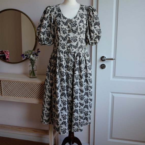 Linen dress butterfly with puff sleeves Gr 42/44