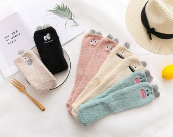 Cute monster fuzzy socks, soft socks, warm socks, cute socks, cozy socks