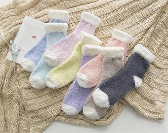 2a16b411988bd Pastel fuzzy socks, winter socks, warm socks, cozy socks, sleep socks, gift  for her, special occasion