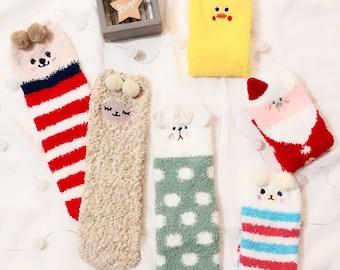 3d149e9cae4ed Character fuzzy socks, soft socks, warm socks, cute socks, cozy socks,  sleep socks