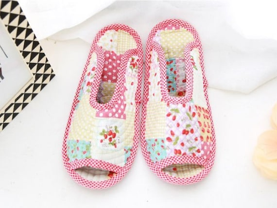 wholesale san francisco cute Indoor slippers, pattern, strawberry, green fern, quilted patch, brown  flower, non-slip, indoor socks, quilted socks, flexible slippers