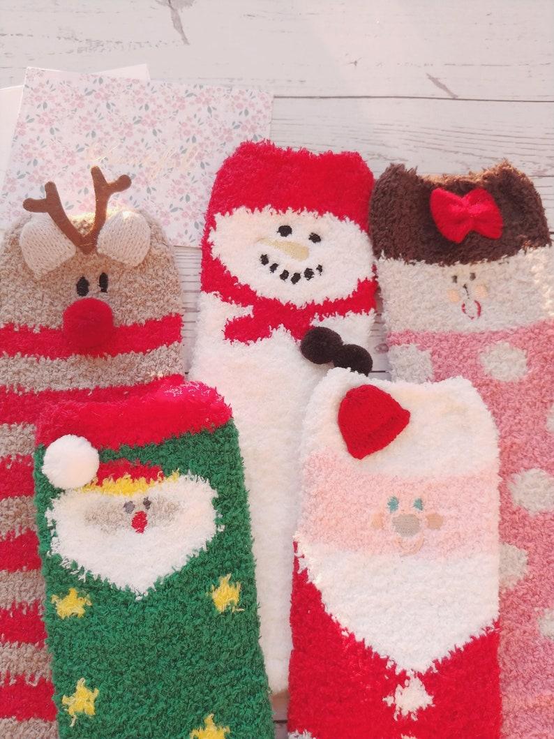 Christmas fuzzy socks soft socks warm socks cute socks image 0