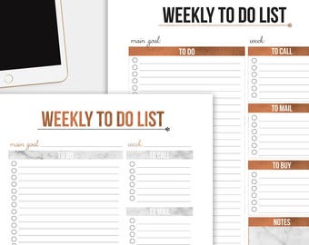 Weekly To Do Lists Rose Gold/Marble - Editable PDF files - 4 different styles - Planner insert