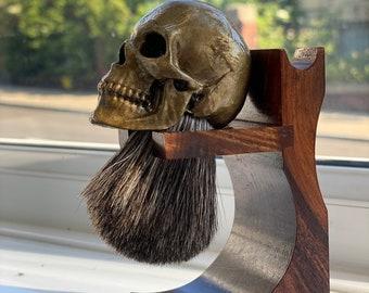 NEW Bronze Age skull shaving brush, traditional wet shave, skull art, barbershop tools, collectible, razor tools, unique gift, rare