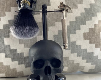 Goldsmith skull shaving brush + black skull stand barbershop tools, brush & razor stand, unique gift, can be made in a range of colors