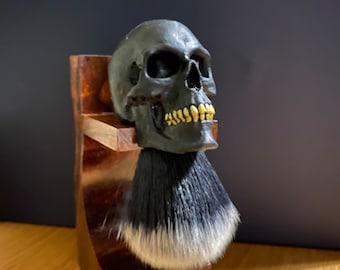 GOLDSMITH barbershop, barber brush, traditional shaving, wet shave, skull shaving brush, skull art, unique gift, custom shaving brush,