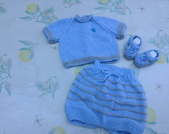Set sweater jacket, bloomers, slippers