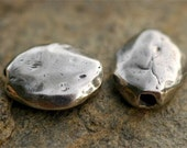 Artisan Rustic Oval Pebble Sterling Silver Bead (ONE) photo