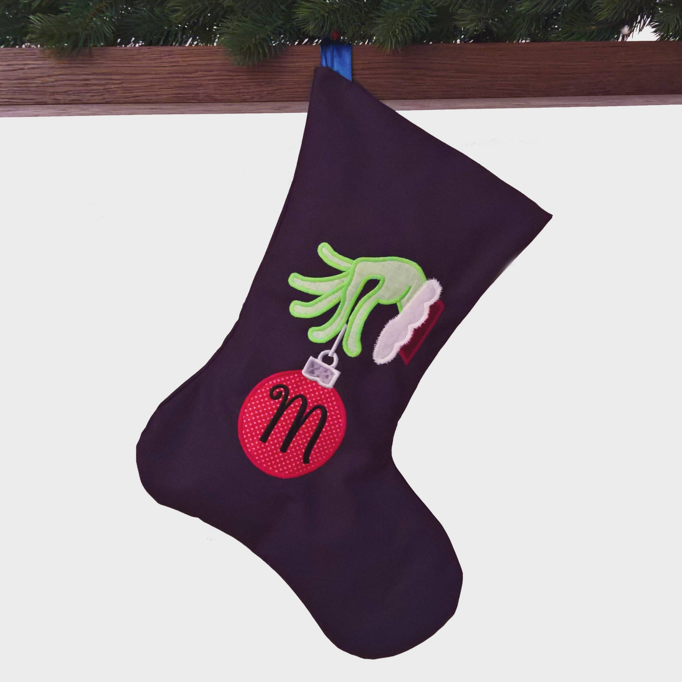 large unique applique handmade grinch christmas stocking dark blue green red bauble with initial spacious personalized gift