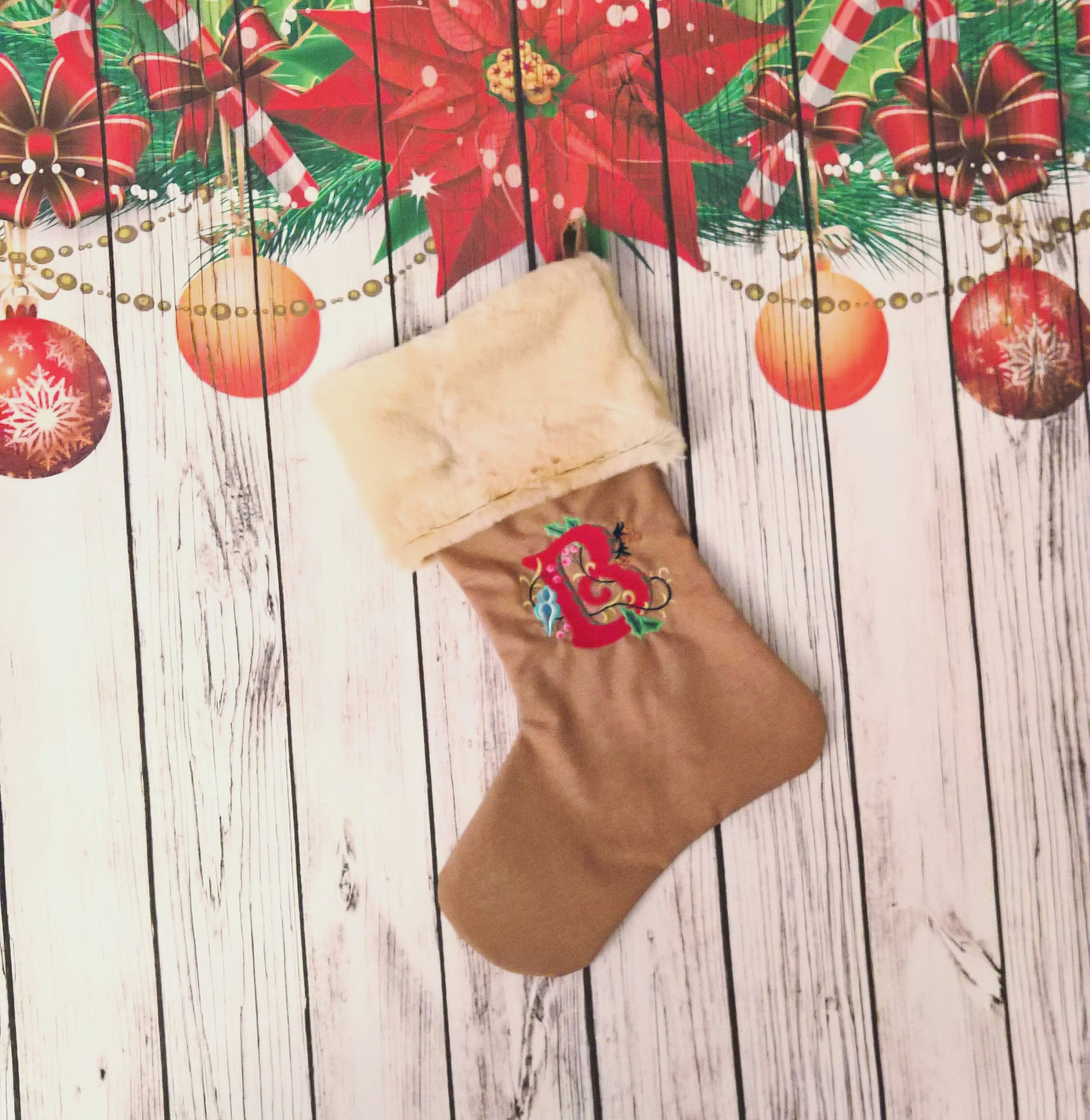 deluxe handmade spacious personalized christmas stocking with faux fur cuff embroidered initial custom monogram burlap vintage luxury gift