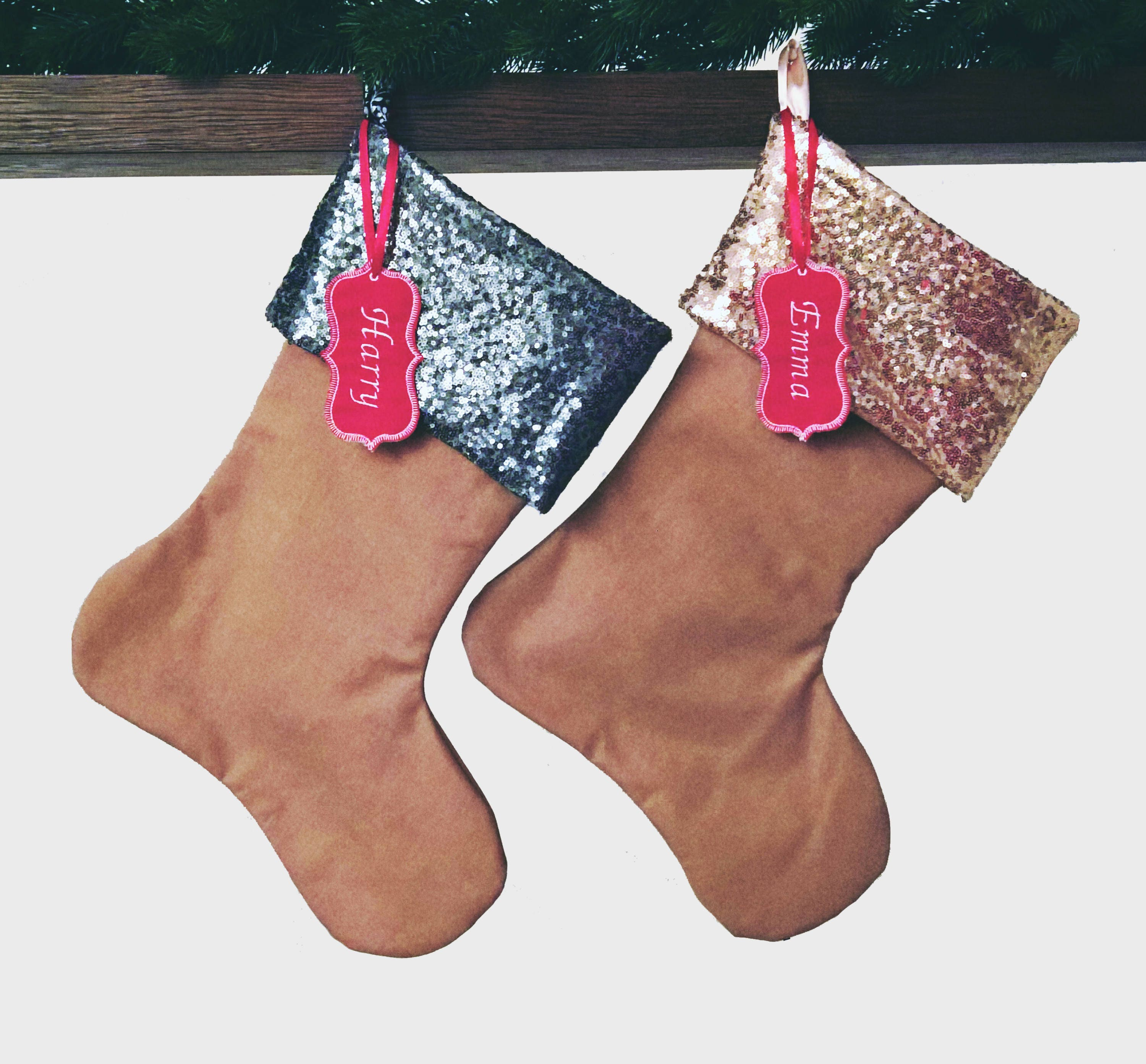 set of 4 four large sequin cuff handmade christmas stocking fireplace decor champagne gunmetal embroidered name tag personalized gift - Handmade Christmas Stockings