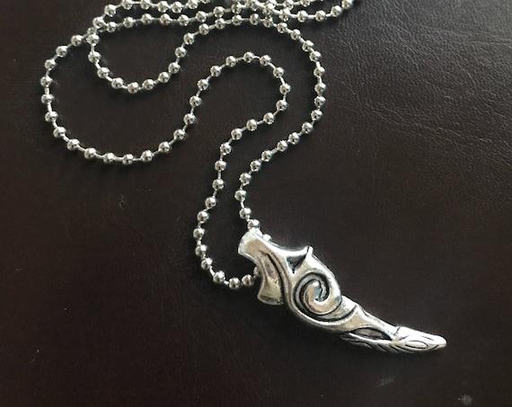 Boho Jewelry Necklace Silver Talon Claw Horn Tribal Spike Pendant Mens Jewelry Husband Dad Boyfriend Groomsmen Fathers Day Gift Beach Choker