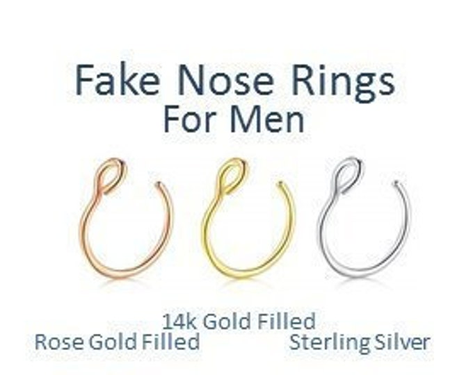 Fake Nose Ring Faux Nose Ring Fake Septum Hoop Gift Guide for Him Mens Jewelry Custom Accessory Body Jewelry Men Tiny Silver Gold Hoop Ring