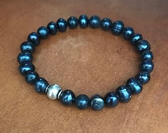 New Pearl Bracelet Blue Fresh Water Anklet Inspirational Bracelet Travelers Boyfriend Husband Shell Beach Stacking Bracelet Fathers Day Gift