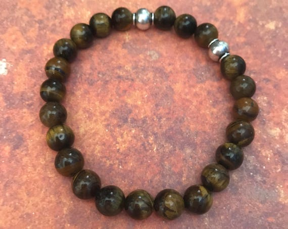 Tiger Eye Bracelet Outdoors Gift Travel Gift Beaded Bracelet Boyfriend Husband Stacking Bracelet Gift with Meaning for Man Woman under 30