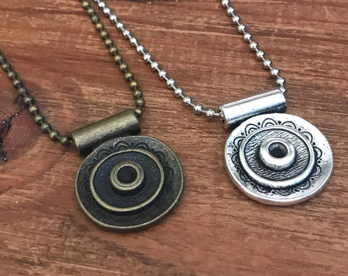 Mens Necklace Custom Bohemian Necklace Chain Pendant Gift Guide for Him Silver Circle Necklace Man Woman Couples Jewelry Groomsmen Boyfriend