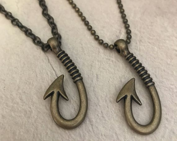 Mens Necklace Mens Pendant Fish Hook Chain Necklace Fishing Gift for Man Cool Surfer Beach Jewelry Boho Masculine Necklace Antique Brass