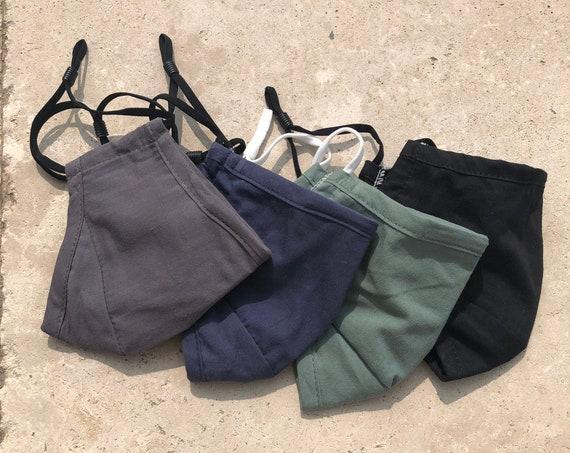 Mens Face Mask 3 Layer Cotton Reusable Washable Blue Black Grey Green Adjustable Filter Pocket Face Covering