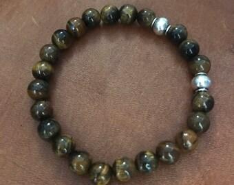 Tiger Eye Bracelet Travel Gift Beaded Bracelet Boyfriend Husband Stacking Bracelet Gift with Meaning for Man Woman under 30