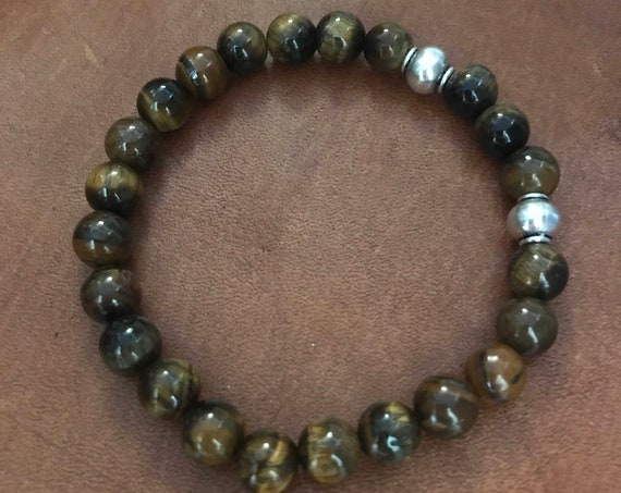 Tiger Eye Bracelet Travel Gift Beaded Bracelet Boyfriend Husband Stacking Bracelet Gift with Meaning for Man Woman under 30
