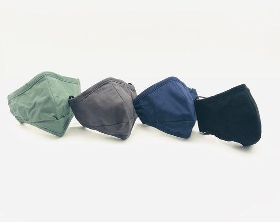 Blue Face Mask Washable Cotton Reusable Black Grey Green Adjustable 3 Layer Filter Pocket Face Covering Men Women