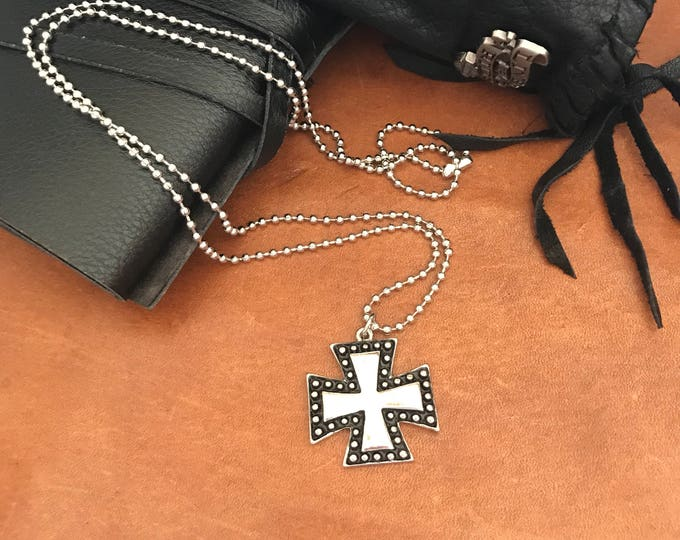 Travel Gift Mens Cross Necklace Biker Jewelry Iron Cross Pendant Surfers Cross Maltese Cross Necklace Gift for Man Under 25 Mens Jewelry
