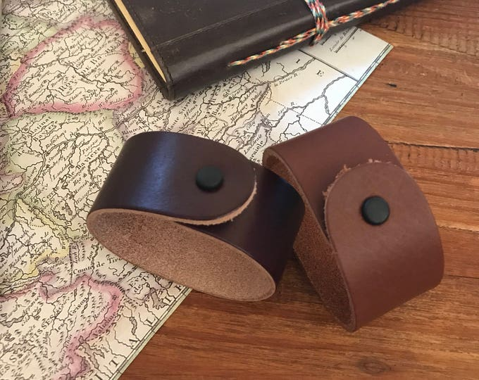 Leather Cuff Bracelet Travelers Trail Gift Brown Leather Jewelry Wide Bracelet Husband Boyfriend Dad Groomsmen Graduation Gift under 25
