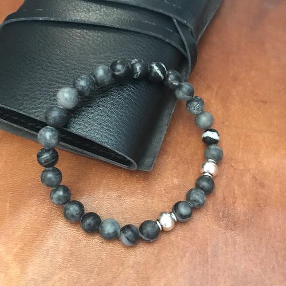 Mens Black Beaded Bracelet Grey Inspirational Bracelet Anklet Gift Boyfriend Husband Dad Beach Stretch Stacking Bracelet Man Woman Gray Bead
