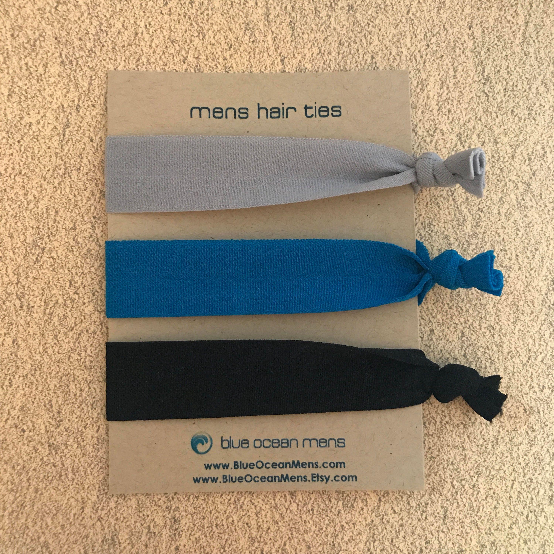 Mens Hair Ties Black Blue Grey Hair Ties Ponytail Holder Hair ... 13c55e33417